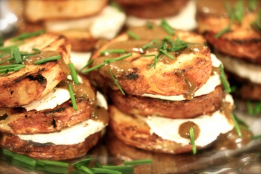 Grilled Potato & Goat Cheese Napolean