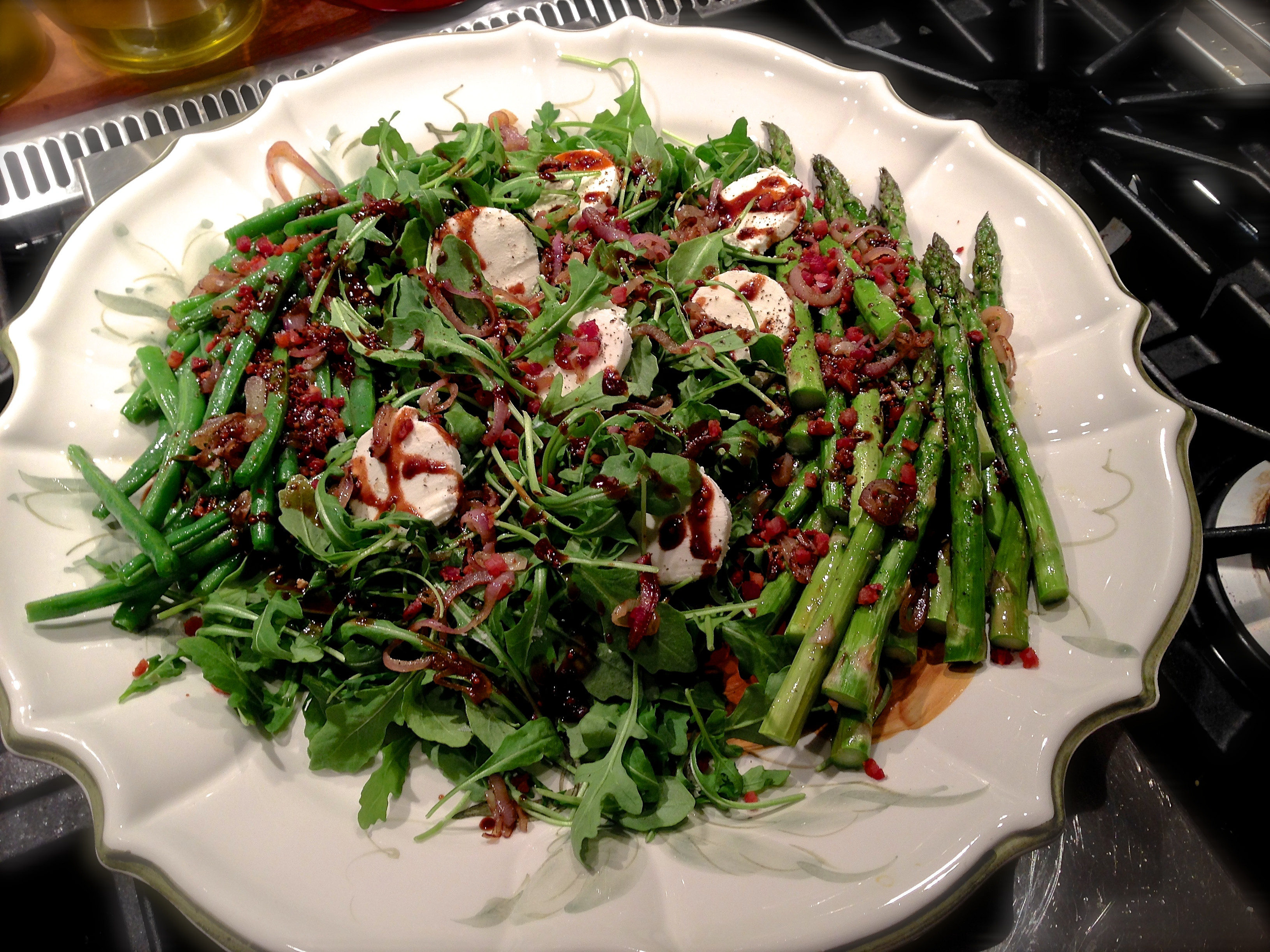 Roasted Asparagus & Green Beans with Crispy Pancetta, Shallots & Goat...